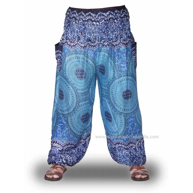 Pantalones bombachos Hippies, color azul