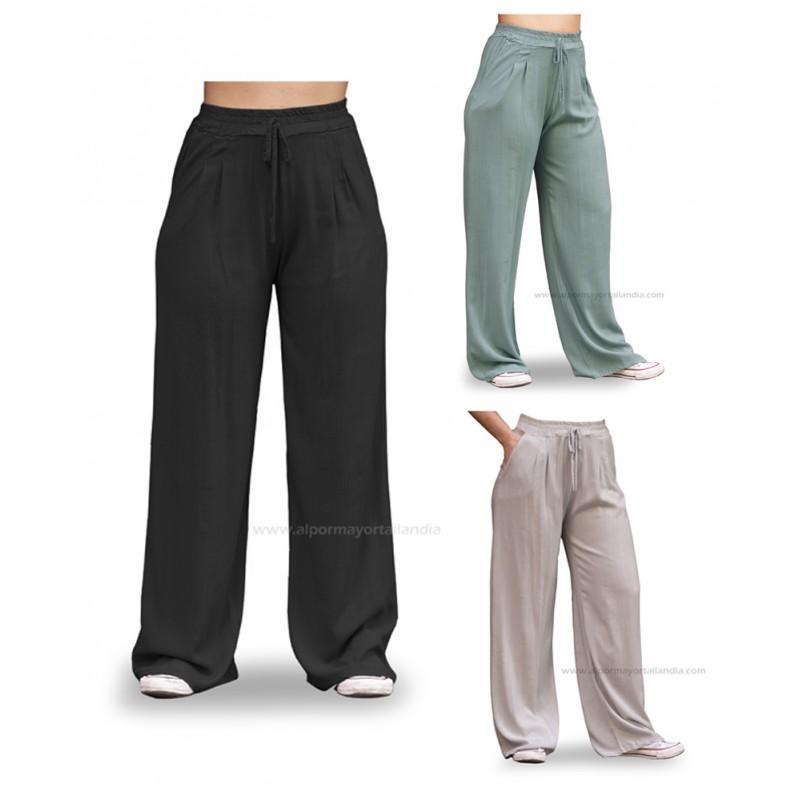 Pantalones rectos mujer, negros